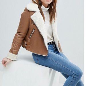 Bershka fleece cropped aviator jacket